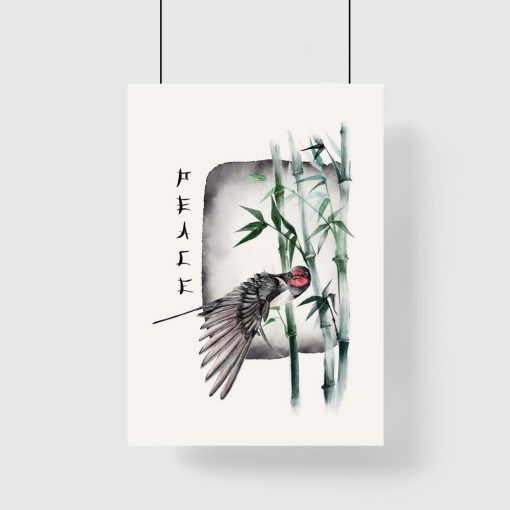 Kolorowy plakat z bambusem