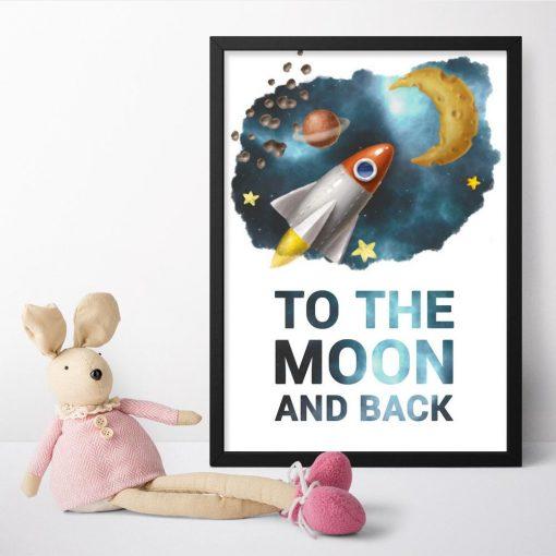 Kolorowy plakat z rakietą i typografią