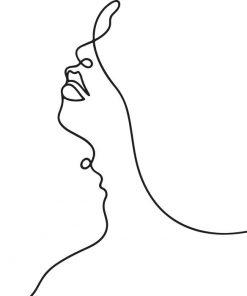 Plakat czarno-biały z napisem love i kobietą
