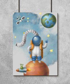 Plakat dla dzieci z kosmosem i sztucznym satelitą