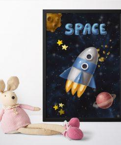 Plakat dla dziecka z motywem kosmosu