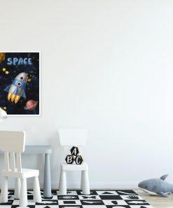 Plakat dla dziecka z rakietą