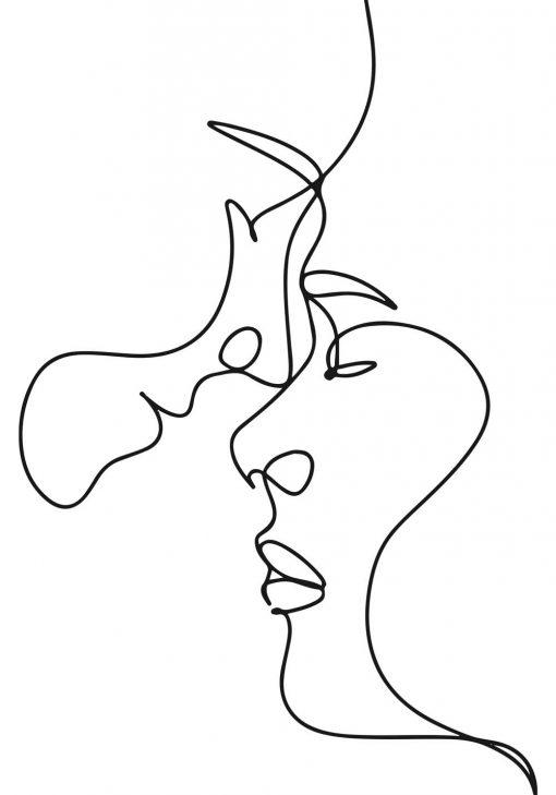 Plakat do dekoracji sypialni ze szkicem twarzy