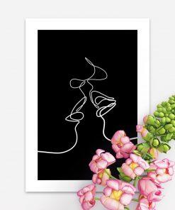 Plakat minimalistyczny ze szkicem kobiety i mężczyzny