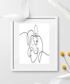 Plakat narysowany linią - twarze