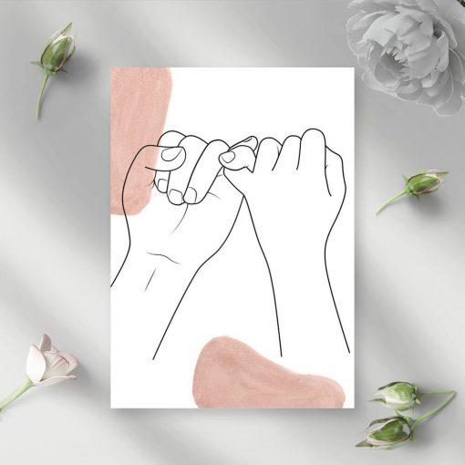 Plakat one color ludzkie dłonie