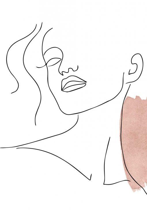 Plakat one color z licem kobiety