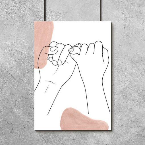 Plakat splecione małe palce