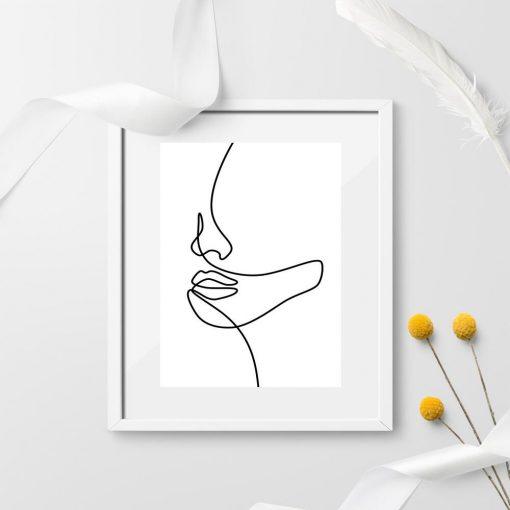 Plakat szkic kobiecej twarzy