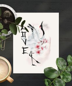 Plakat z japońskimi elementami bez ramy
