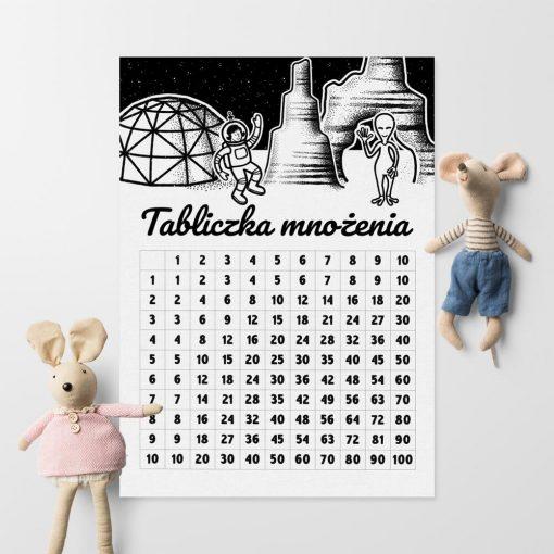 Plakat z kosmitą i tabliczką mnożenia