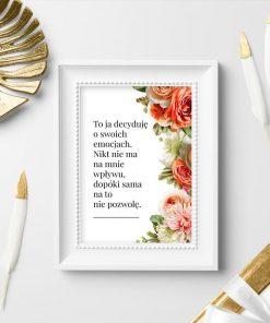 Plakat z kwiatami i maksymą o kobietach