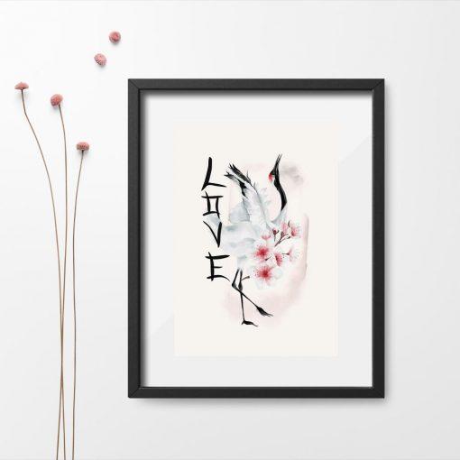 Plakat z kwiatami wiśni i ptakiem