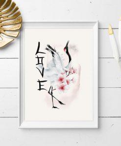 Plakat z kwiatami wiśni i żurawiem
