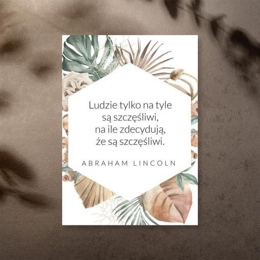 Plakat z maksymą o szczęściu wg Lincolna