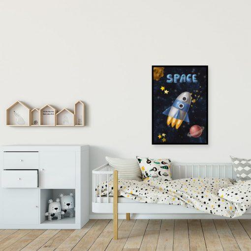 Plakat z motywem rakiety i planet