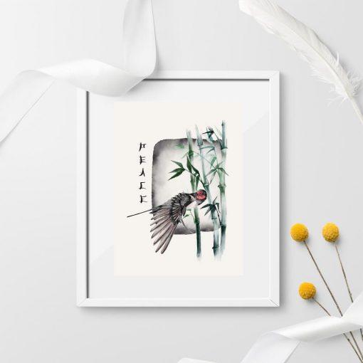 Plakat z napisem i bambusem