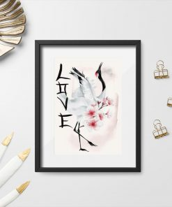 Plakat z napisem love i żurawiem