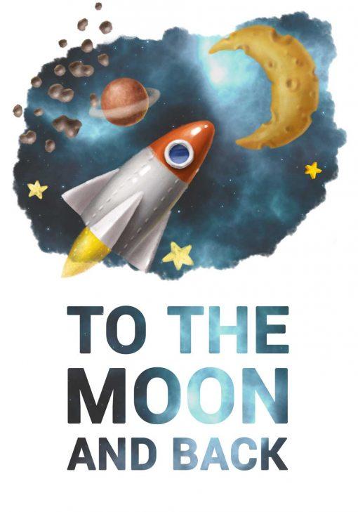 Plakat z napisem to the moon and back do oprawienia
