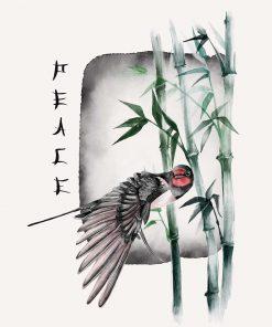 Plakat z ptakiem i bambusem i peace