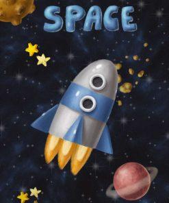 Plakat z rakietą kosmiczną i planetami