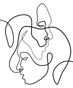 Plakat z twarzami ludzi - line art