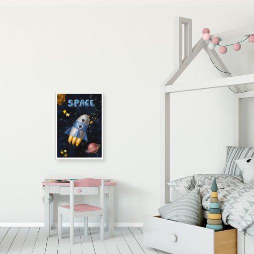 Plakat ze statkiem i planetami