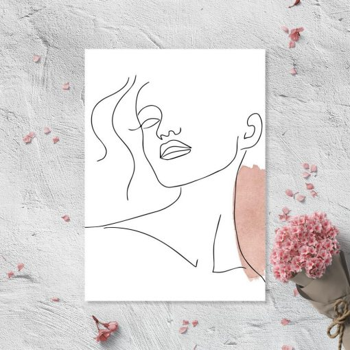 Plakat ze szkicem twarzy - line art