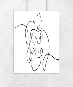 Plakaty line art - portrety profili