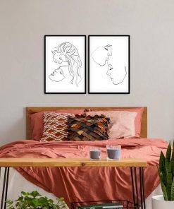 Plakaty ze szkicami kobiecych buzi
