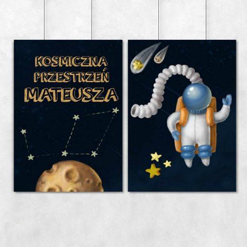 Spersonalizowany dyptyk plakatowy z kosmonautą oraz imieniem Twojego dziecka