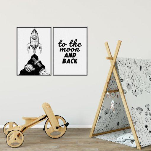 Plakat dla dzieci z rakietą i sentencją