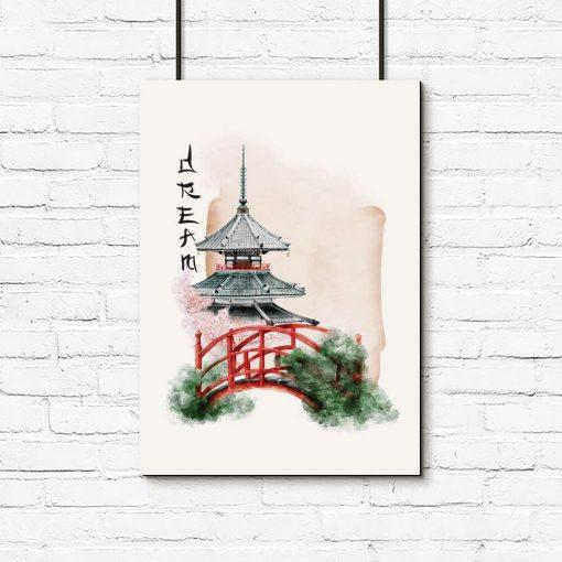 Plakat japoński ogród w kolorze różu