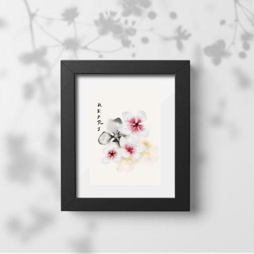 Plakat kwiaty wiśni na różowo