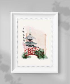 Plakat most w ogrodzie japońskim i pagoda