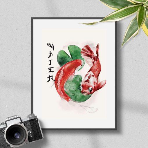 Plakat ozdobne karpie do dekoracji restauracji