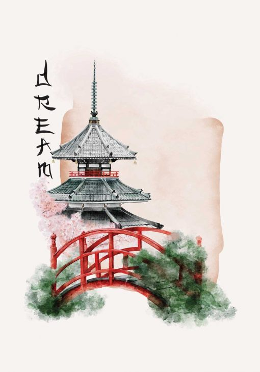Plakat w motywem pagody oraz napisem