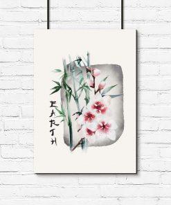 Plakat z bambusem i wiśnią