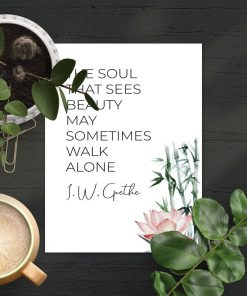 Plakat z cytatem poety i roślinami