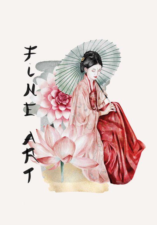 Plakat z japońską kobietą sztuki