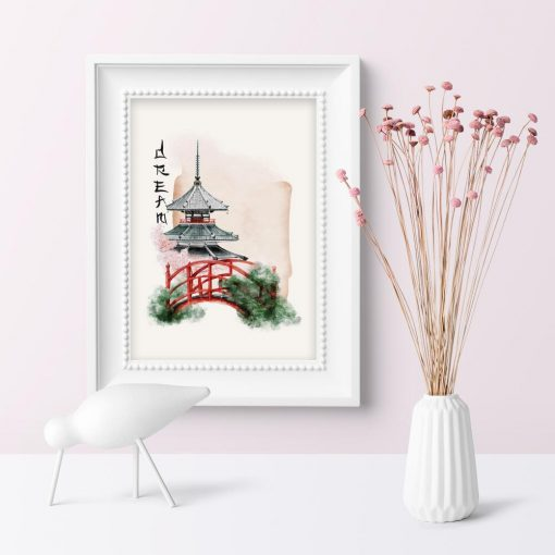 Plakat z japońskim mostkiem w ogrodzie w barwach różu
