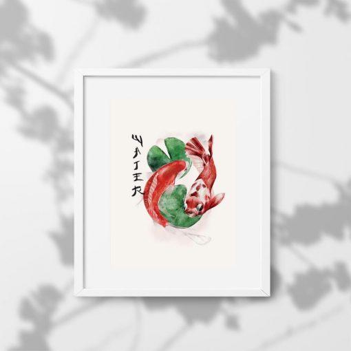 Plakat z japońskimi karpiami do japońskiej restauracji