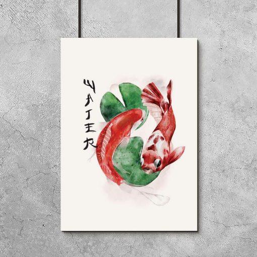 Plakat z japońskimi rybami do stylowego wnętrza