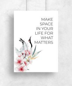 Plakat z kwiatami wiśni i maksymą do oprawienia