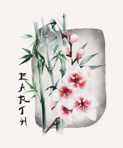 Plakat z kwiatem wiśni i napisem: ziemia