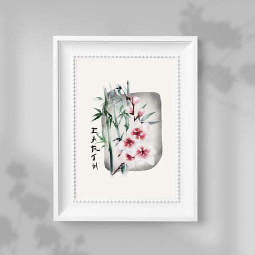 Plakat z kwiatem wiśni oraz napisem