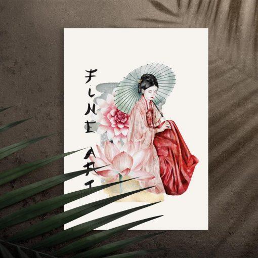 Plakat z motywami japońskiej kultury
