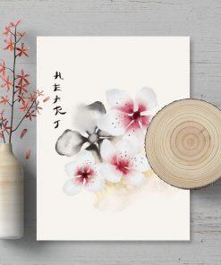 Plakat z motywem kwiatowym w różowej tonacji