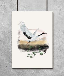 Plakat z motywem żurawia w locie