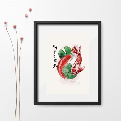 Plakat z ozdobnymi karpiami koi do japońskiej restauracji